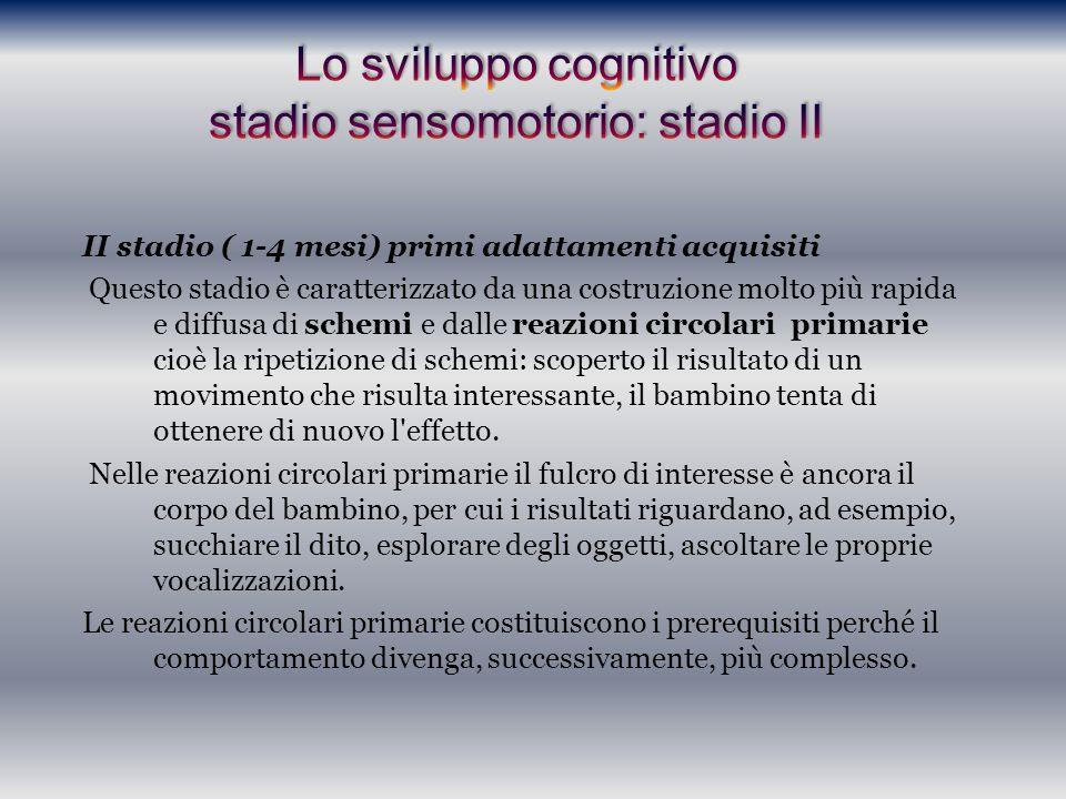 Lo sviluppo cognitivo stadio sensomotorio: stadio II