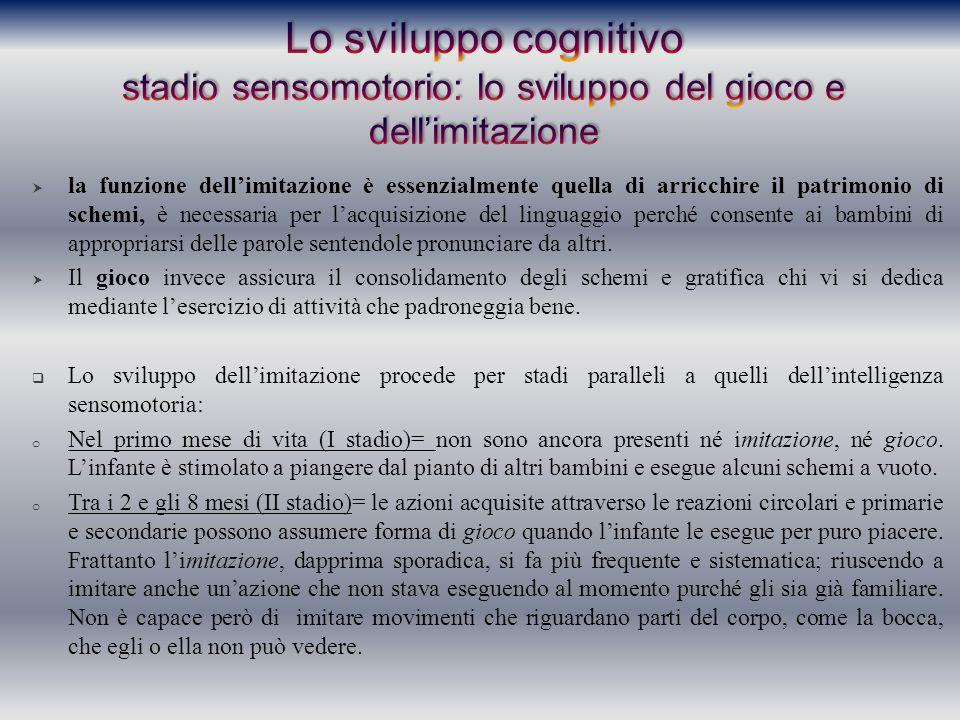 Lo sviluppo cognitivo stadio sensomotorio: lo sviluppo del gioco e dell'imitazione