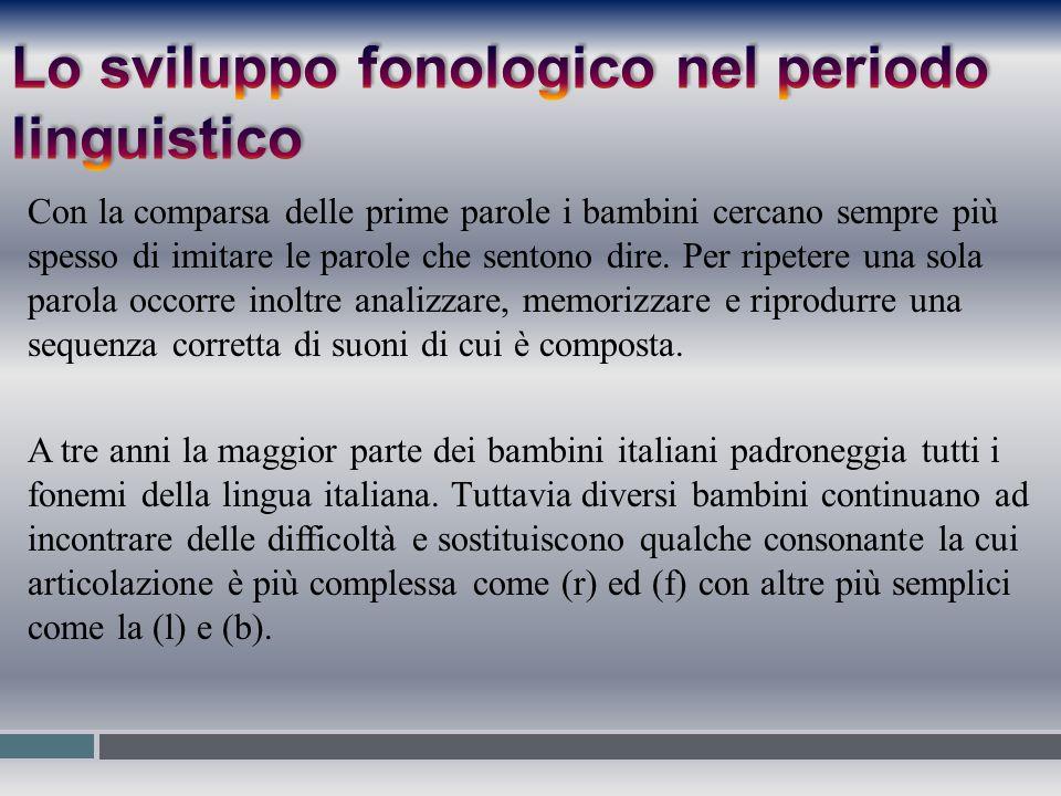 Lo sviluppo fonologico nel periodo linguistico