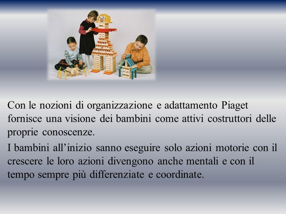 Con le nozioni di organizzazione e adattamento Piaget fornisce una visione dei bambini come attivi costruttori delle proprie conoscenze.