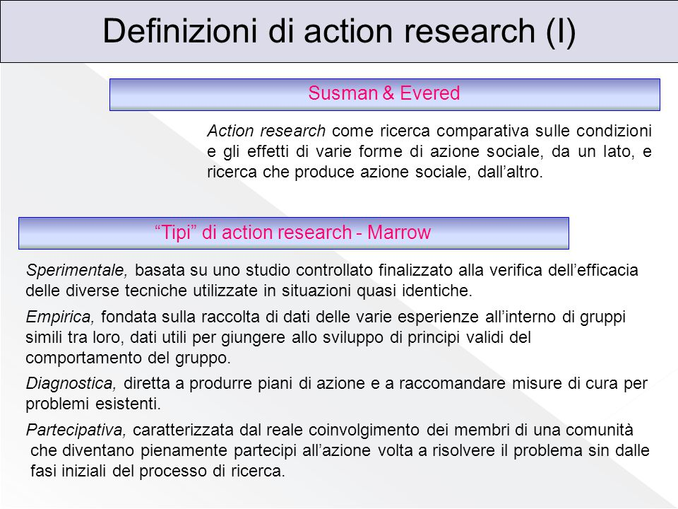 Definizioni di action research (I)