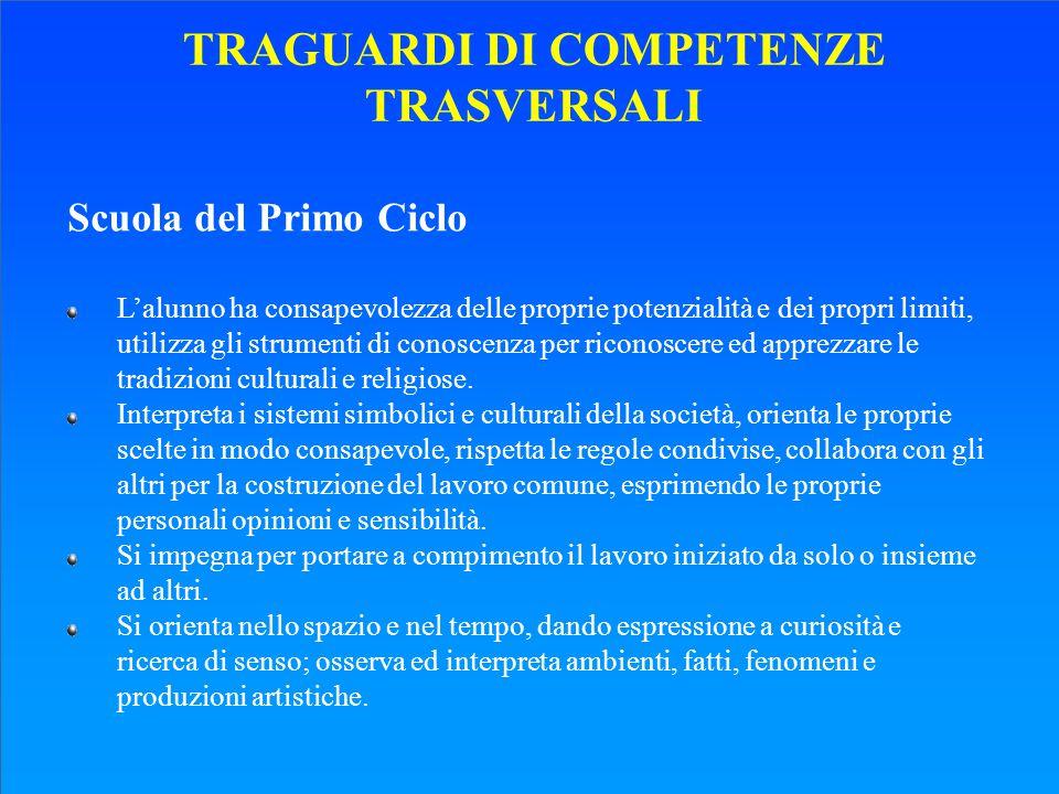 TRAGUARDI DI COMPETENZE TRASVERSALI