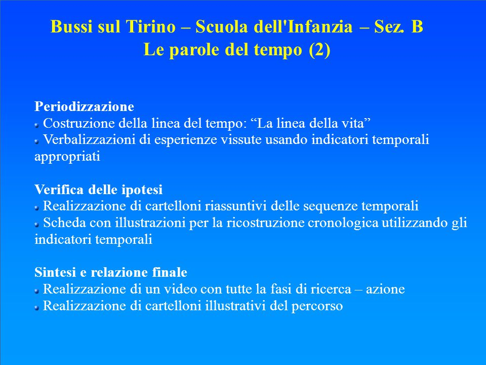 Bussi sul Tirino – Scuola dell Infanzia – Sez. B