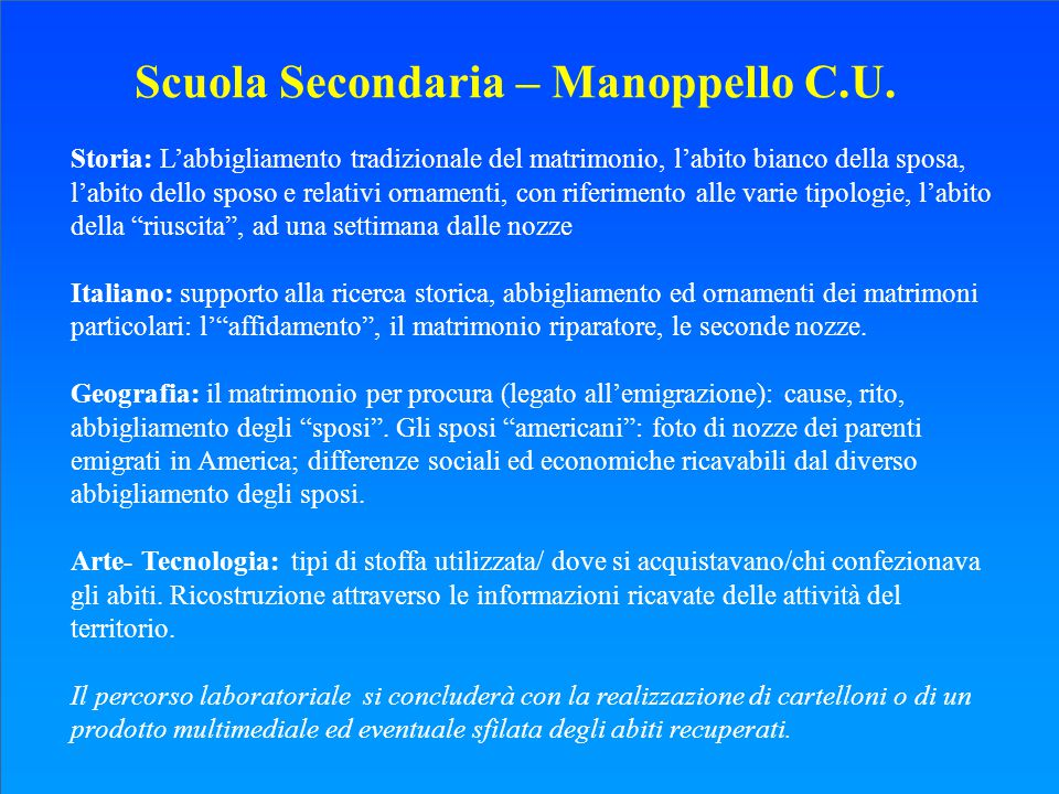 Scuola Secondaria – Manoppello C.U.