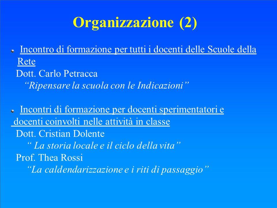 Organizzazione (2) Incontro di formazione per tutti i docenti delle Scuole della Rete. Dott. Carlo Petracca.