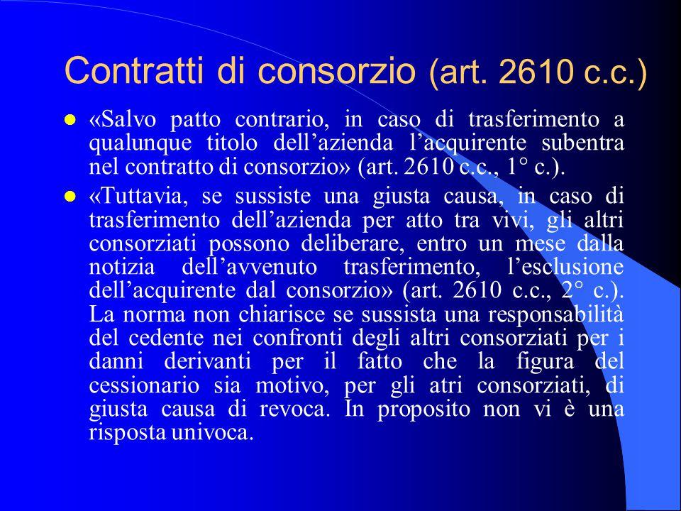 Contratti di consorzio (art. 2610 c.c.)