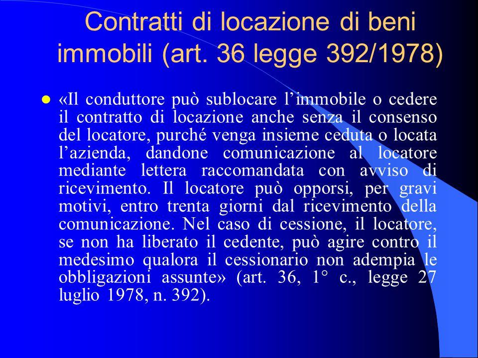 Contratti di locazione di beni immobili (art. 36 legge 392/1978)