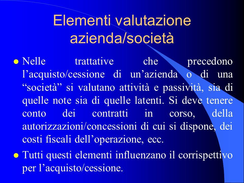 Elementi valutazione azienda/società