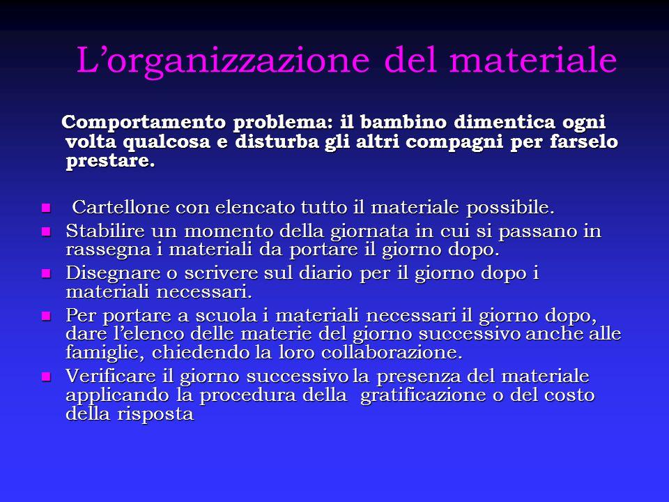 L'organizzazione del materiale