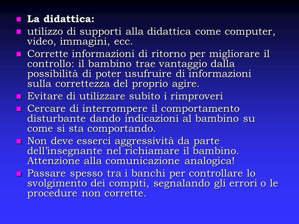 La didattica: utilizzo di supporti alla didattica come computer, video, immagini, ecc.