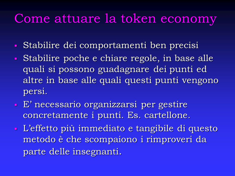 Come attuare la token economy