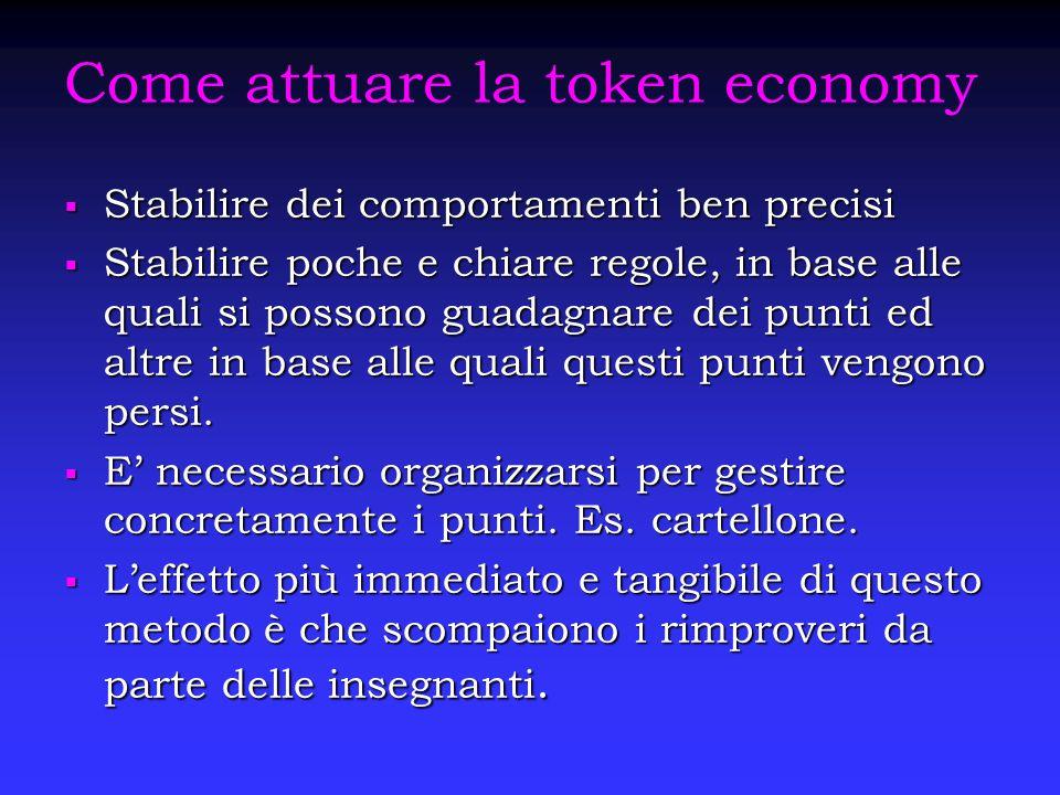 Come attuare la token economy