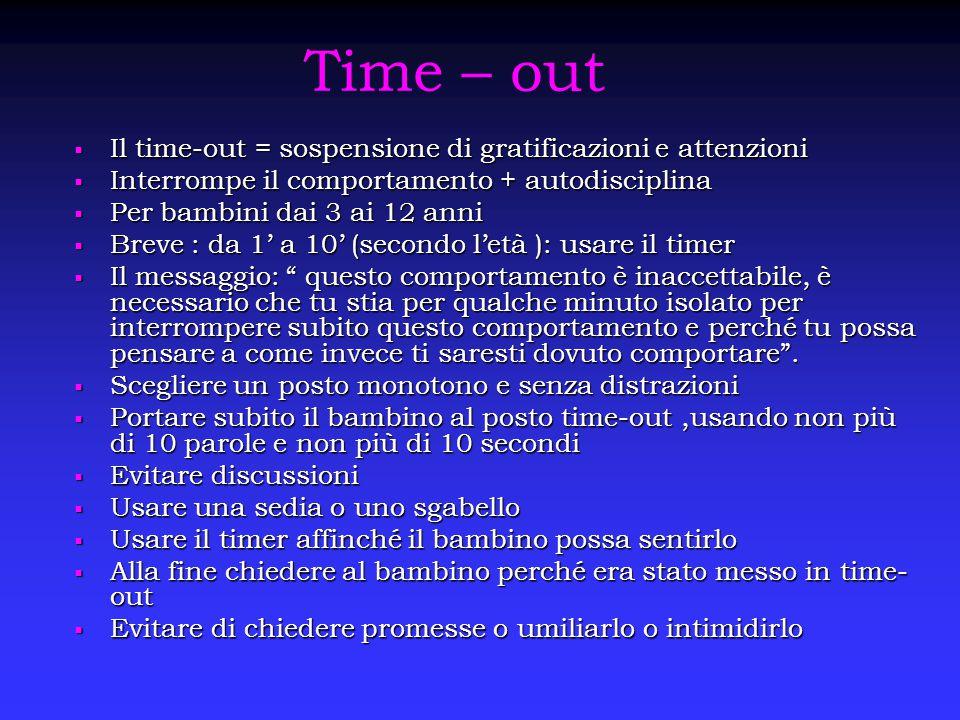 Time – out Il time-out = sospensione di gratificazioni e attenzioni