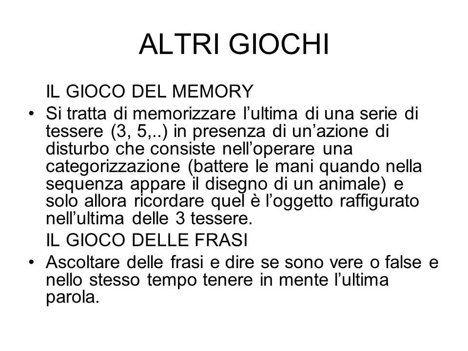 ALTRI GIOCHI IL GIOCO DEL MEMORY