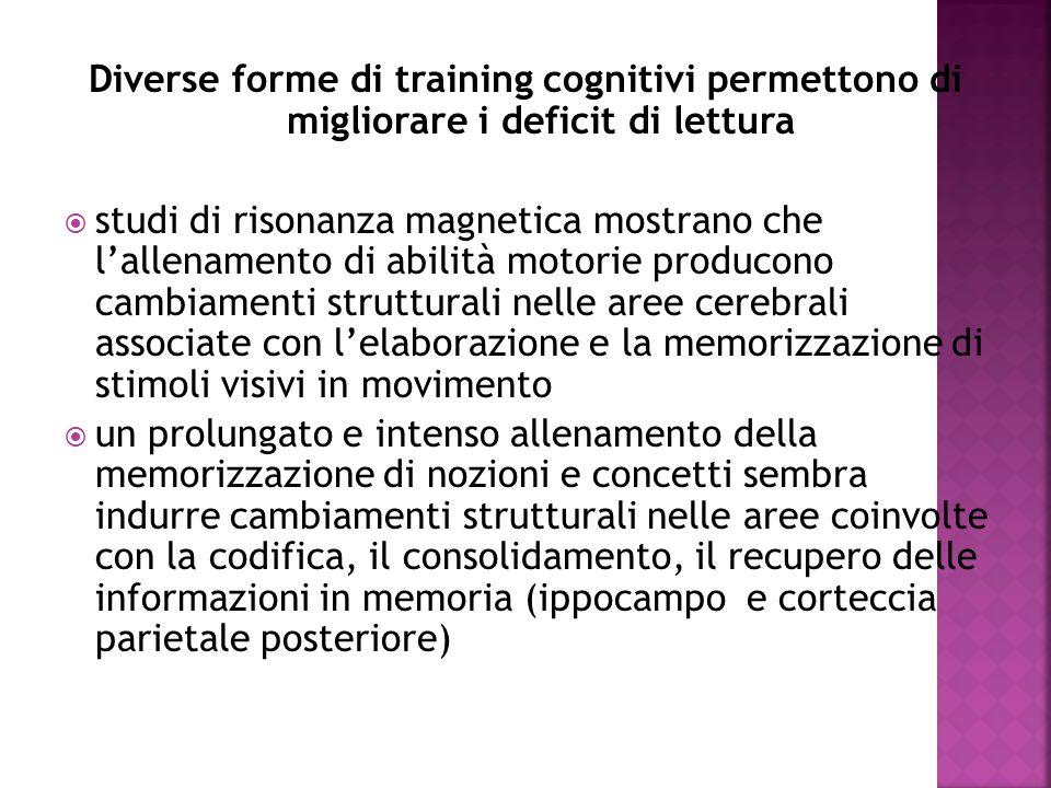 Diverse forme di training cognitivi permettono di migliorare i deficit di lettura