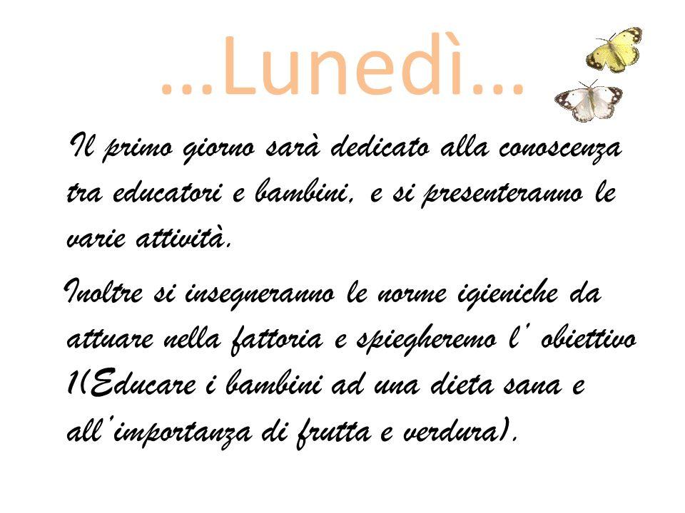 …Lunedì… Il primo giorno sarà dedicato alla conoscenza tra educatori e bambini, e si presenteranno le varie attività.