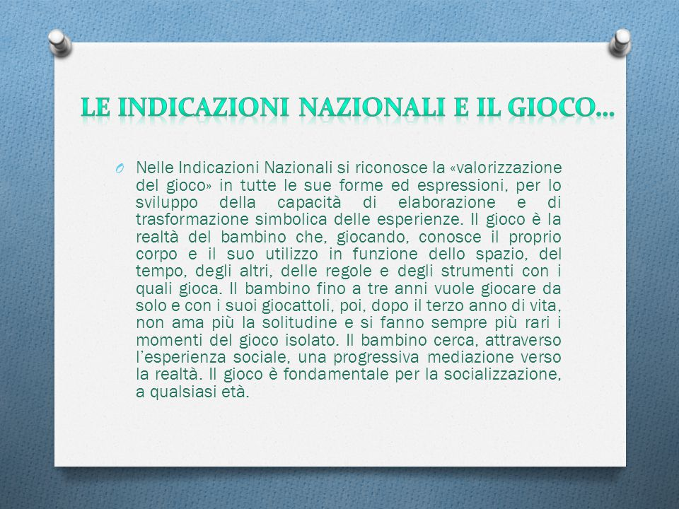 Le Indicazioni Nazionali e il gioco…