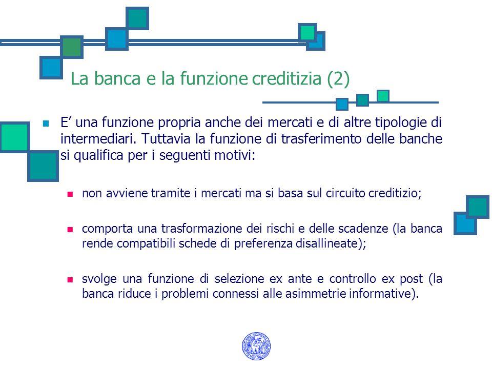 La banca e la funzione creditizia (2)
