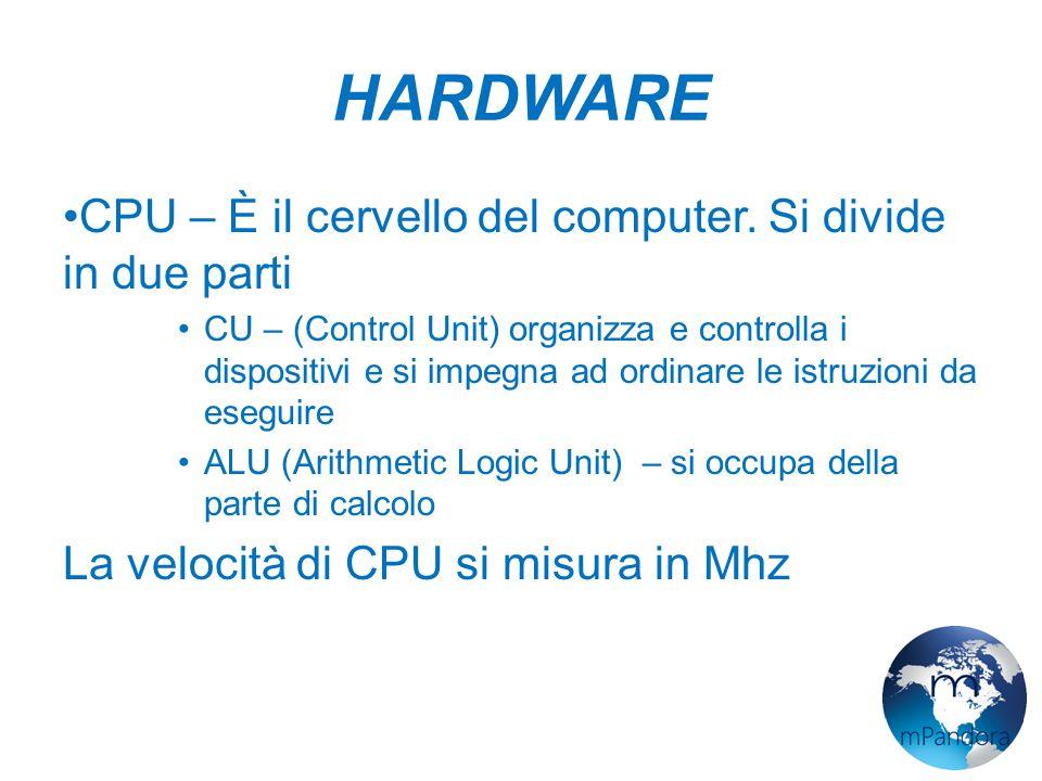 HARDWARE CPU – È il cervello del computer. Si divide in due parti