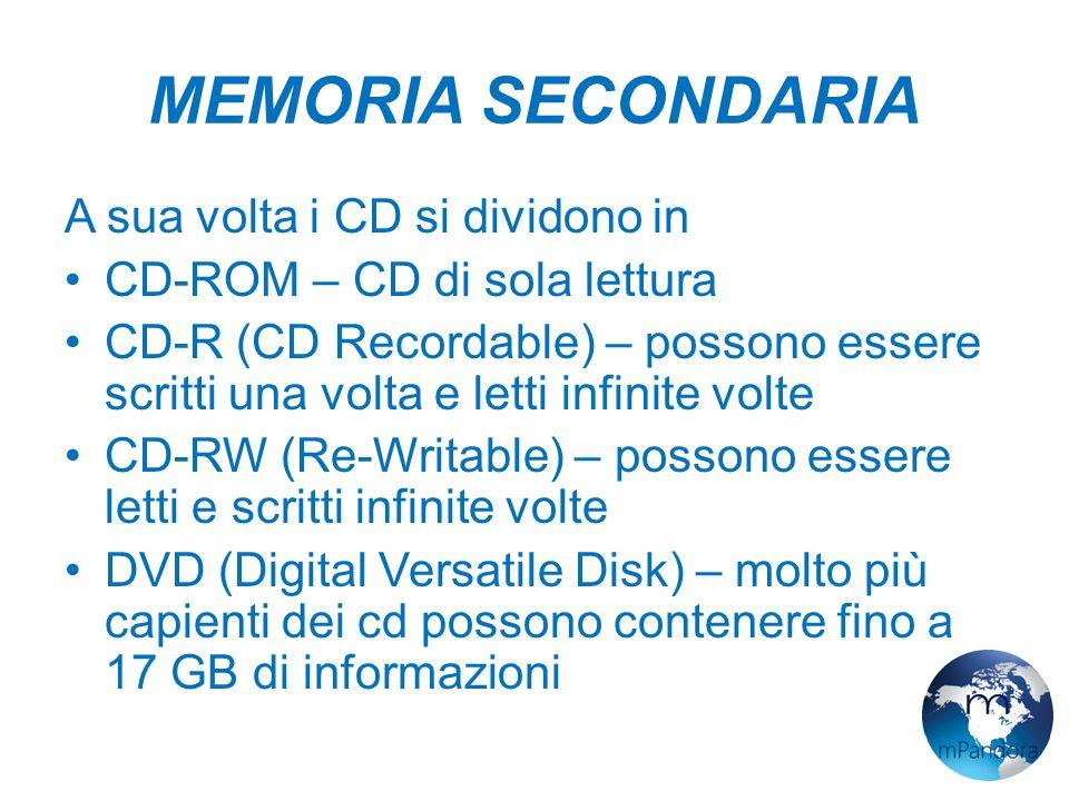 MEMORIA SECONDARIA A sua volta i CD si dividono in