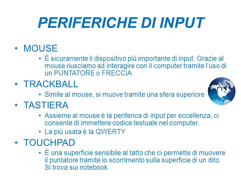 PERIFERICHE DI INPUT MOUSE TRACKBALL TASTIERA TOUCHPAD