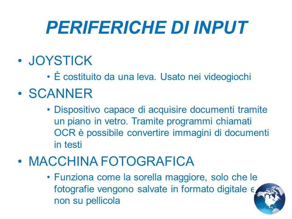 PERIFERICHE DI INPUT JOYSTICK SCANNER MACCHINA FOTOGRAFICA