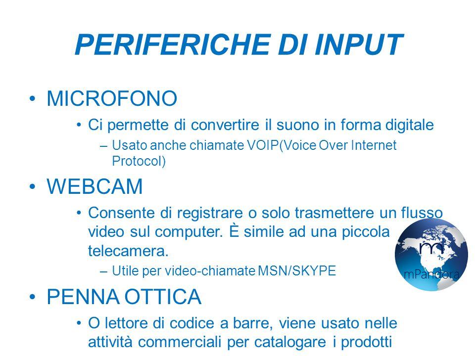 PERIFERICHE DI INPUT MICROFONO WEBCAM PENNA OTTICA