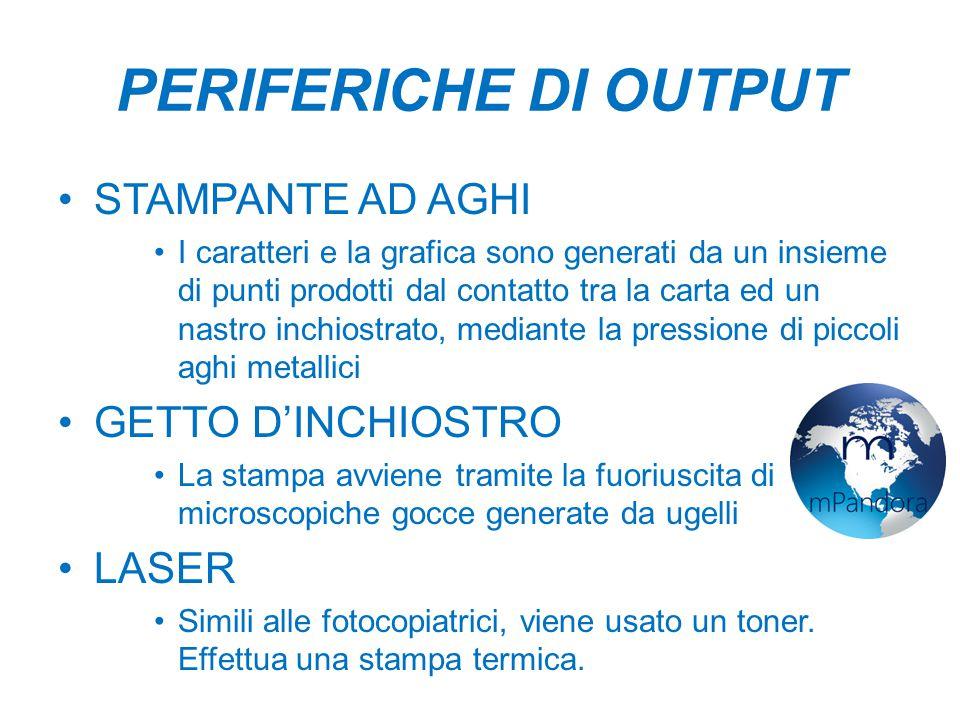 PERIFERICHE DI OUTPUT STAMPANTE AD AGHI GETTO D'INCHIOSTRO LASER