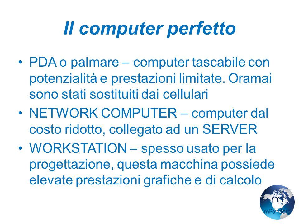 Il computer perfetto PDA o palmare – computer tascabile con potenzialità e prestazioni limitate. Oramai sono stati sostituiti dai cellulari.