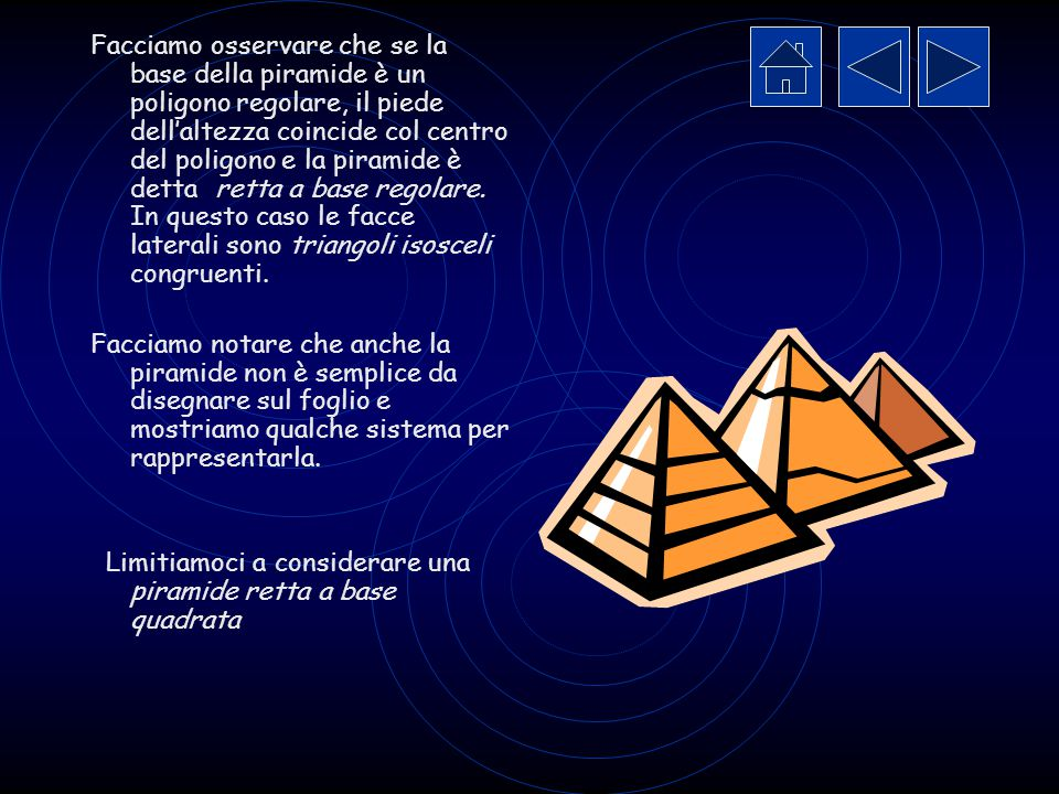 Facciamo osservare che se la base della piramide è un poligono regolare, il piede dell'altezza coincide col centro del poligono e la piramide è detta retta a base regolare. In questo caso le facce laterali sono triangoli isosceli congruenti.