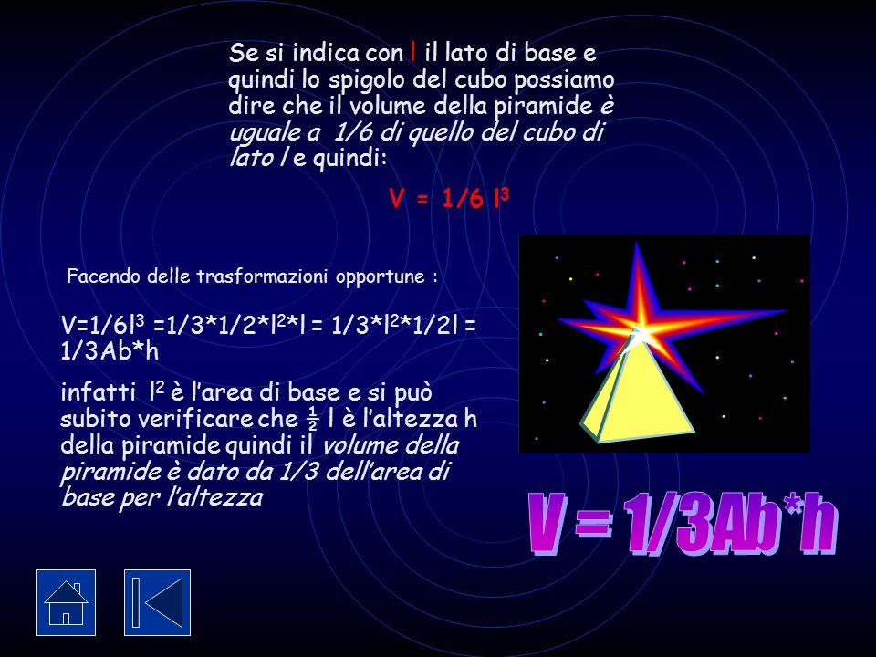 V=1/6l3 =1/3*1/2*l2*l = 1/3*l2*1/2l = 1/3Ab*h