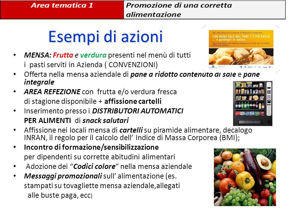 Esempi di azioni MENSA: Frutta e verdura presenti nel menù di tutti
