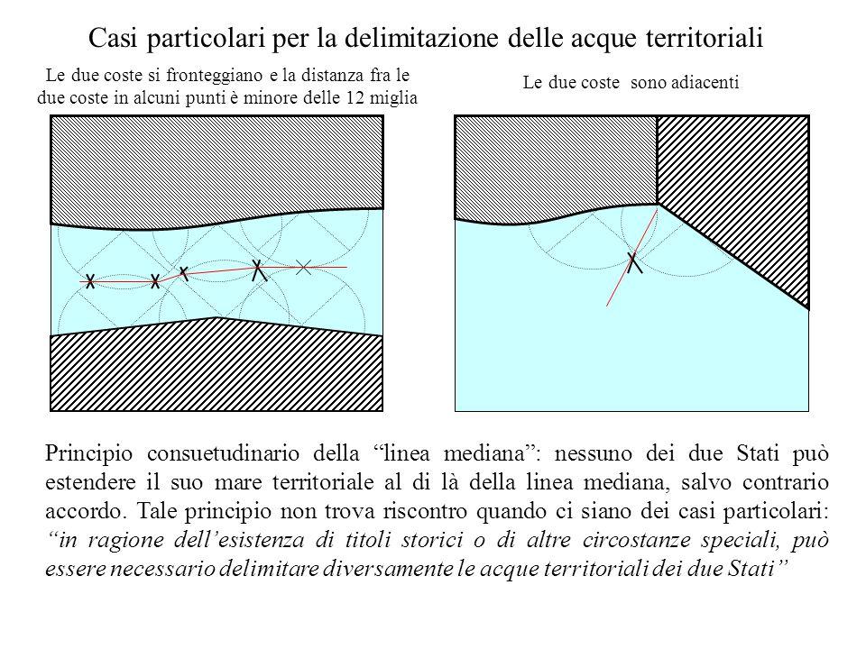 Casi particolari per la delimitazione delle acque territoriali