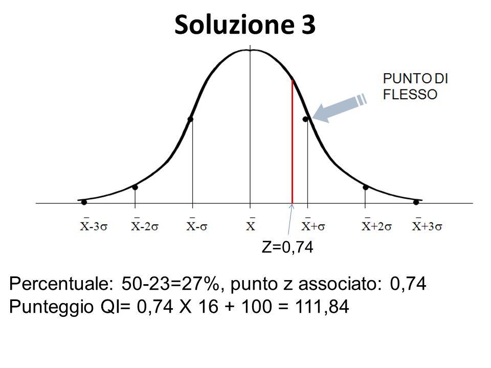 Soluzione 3 Percentuale: 50-23=27%, punto z associato: 0,74