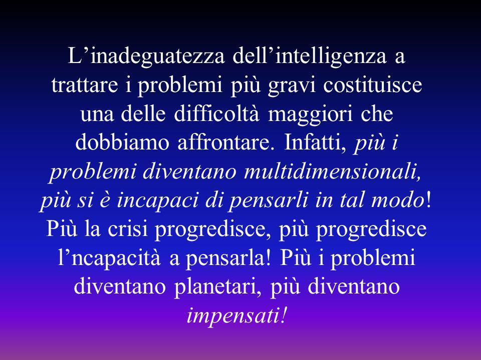 L'inadeguatezza dell'intelligenza a trattare i problemi più gravi costituisce una delle difficoltà maggiori che dobbiamo affrontare.