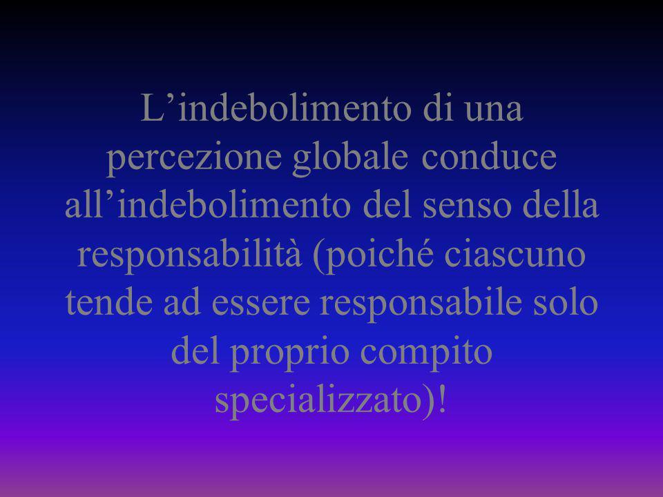 L'indebolimento di una percezione globale conduce all'indebolimento del senso della responsabilità (poiché ciascuno tende ad essere responsabile solo del proprio compito specializzato)!