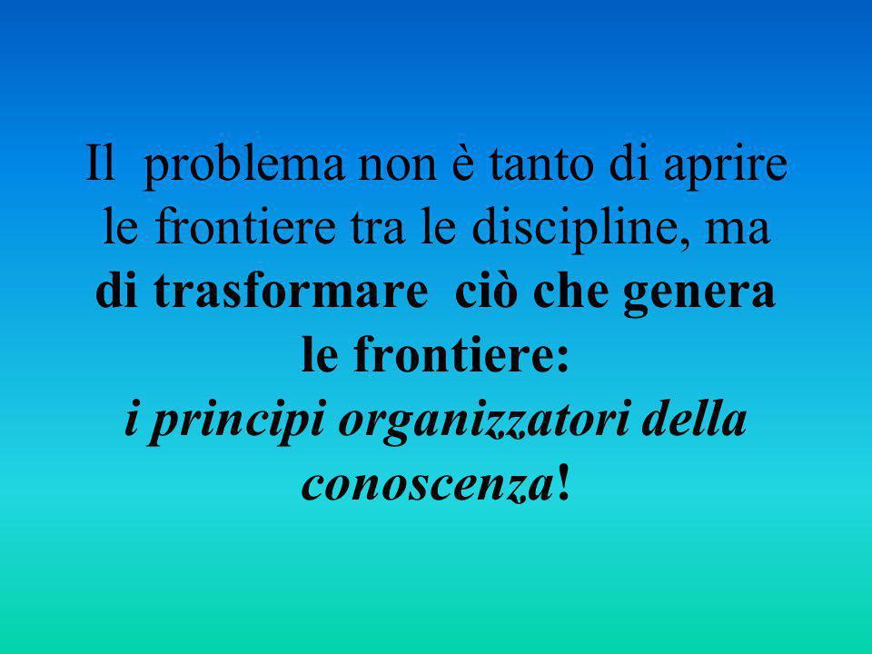 Il problema non è tanto di aprire le frontiere tra le discipline, ma di trasformare ciò che genera le frontiere: i principi organizzatori della conoscenza!