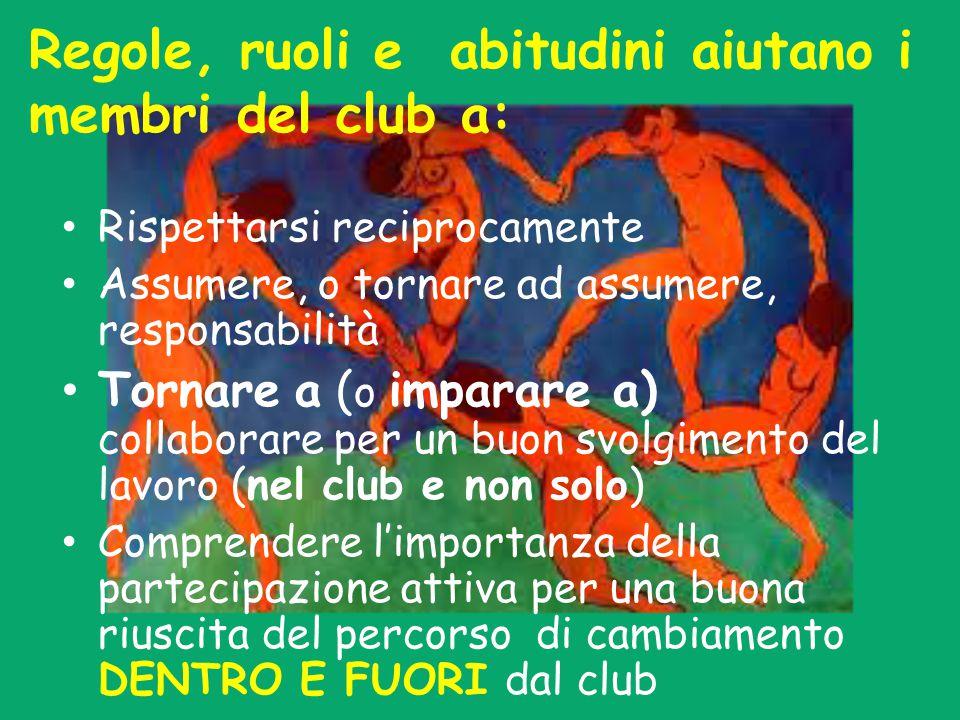 Regole, ruoli e abitudini aiutano i membri del club a: