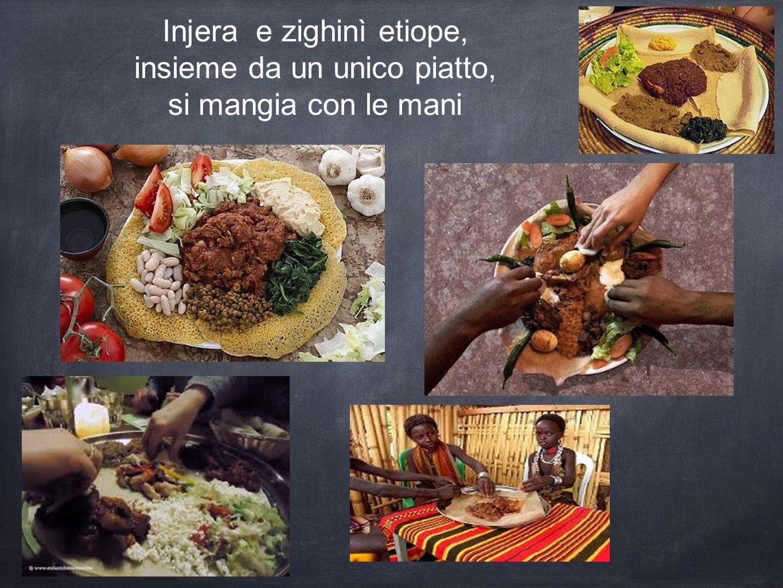 Injera e zighinì etiope, insieme da un unico piatto,