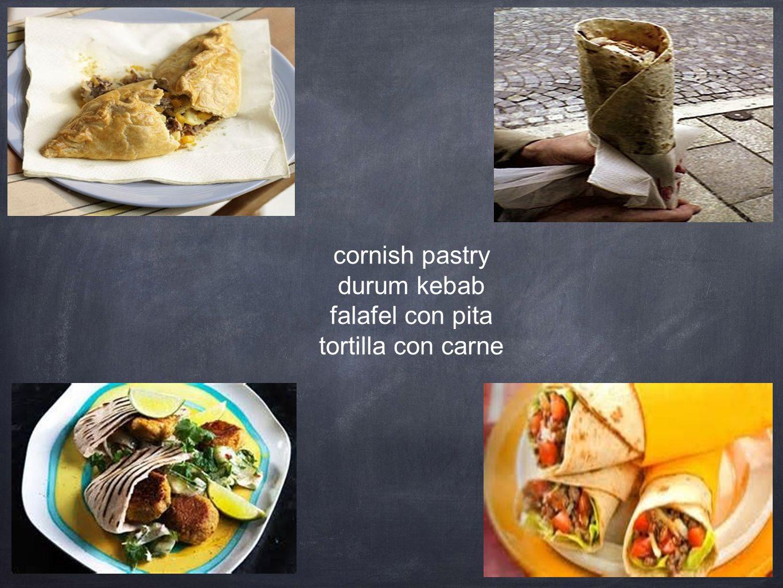 cornish pastry durum kebab falafel con pita tortilla con carne