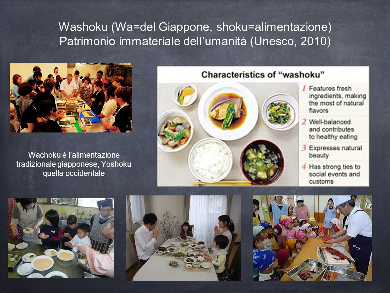 Washoku (Wa=del Giappone, shoku=alimentazione) Patrimonio immateriale dell'umanità (Unesco, 2010)