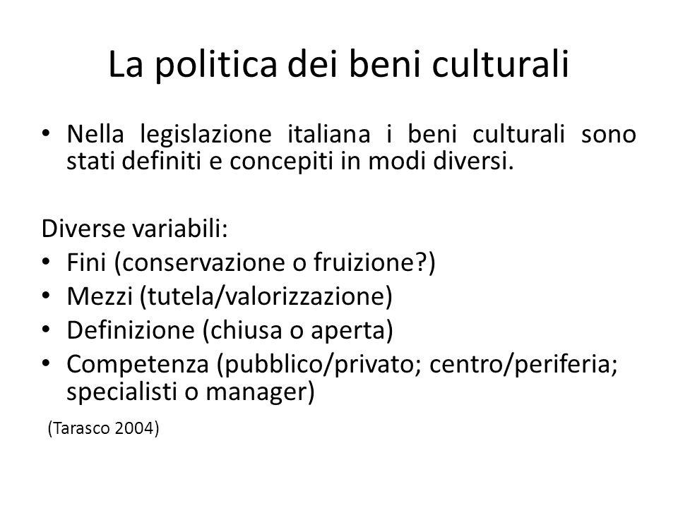 La politica dei beni culturali