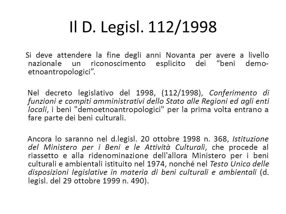 Il D. Legisl. 112/1998
