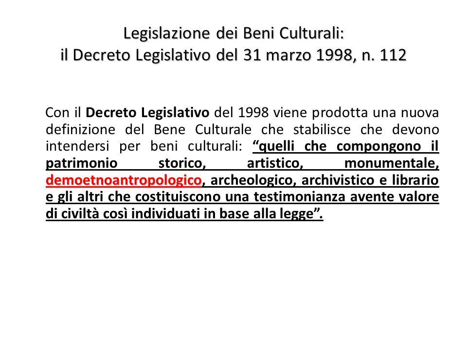Legislazione dei Beni Culturali: il Decreto Legislativo del 31 marzo 1998, n. 112