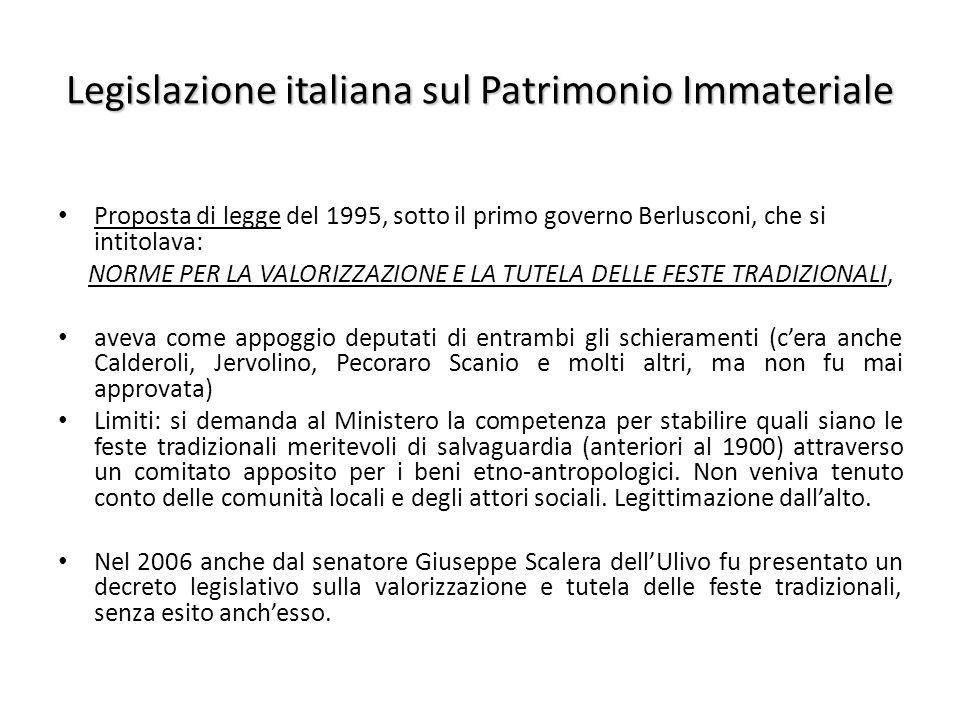 Legislazione italiana sul Patrimonio Immateriale