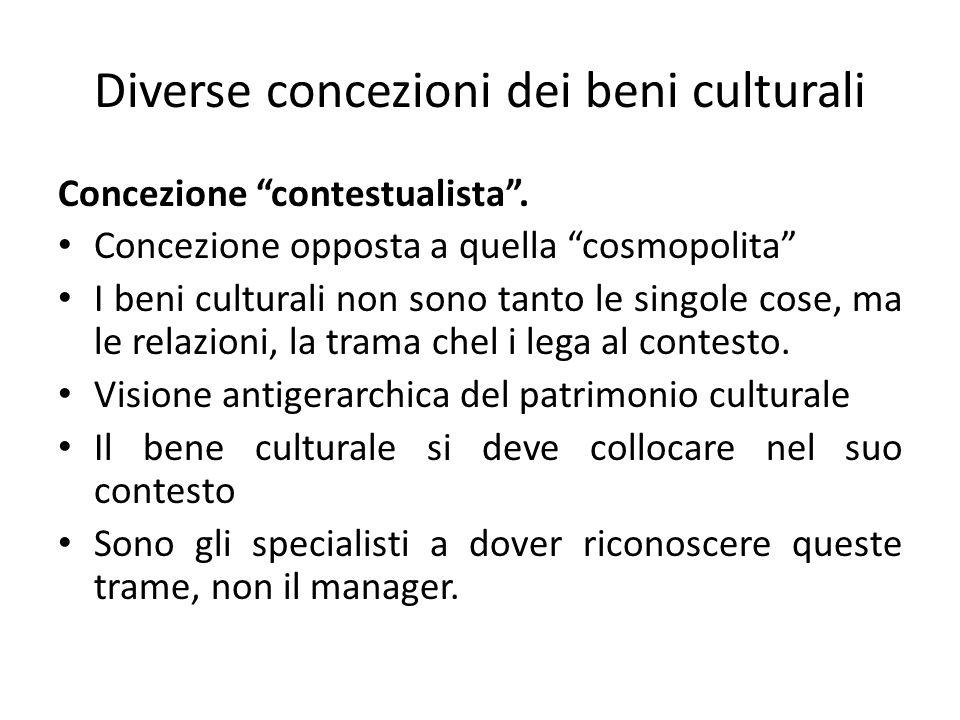 Diverse concezioni dei beni culturali