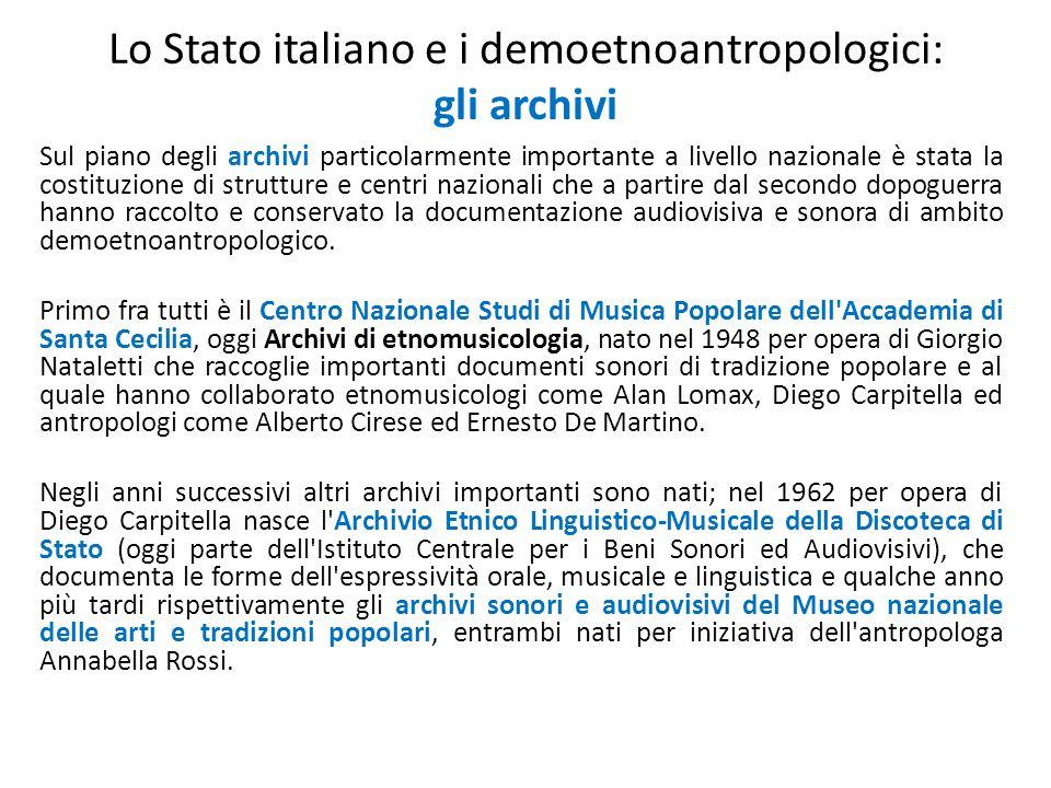 Lo Stato italiano e i demoetnoantropologici: gli archivi