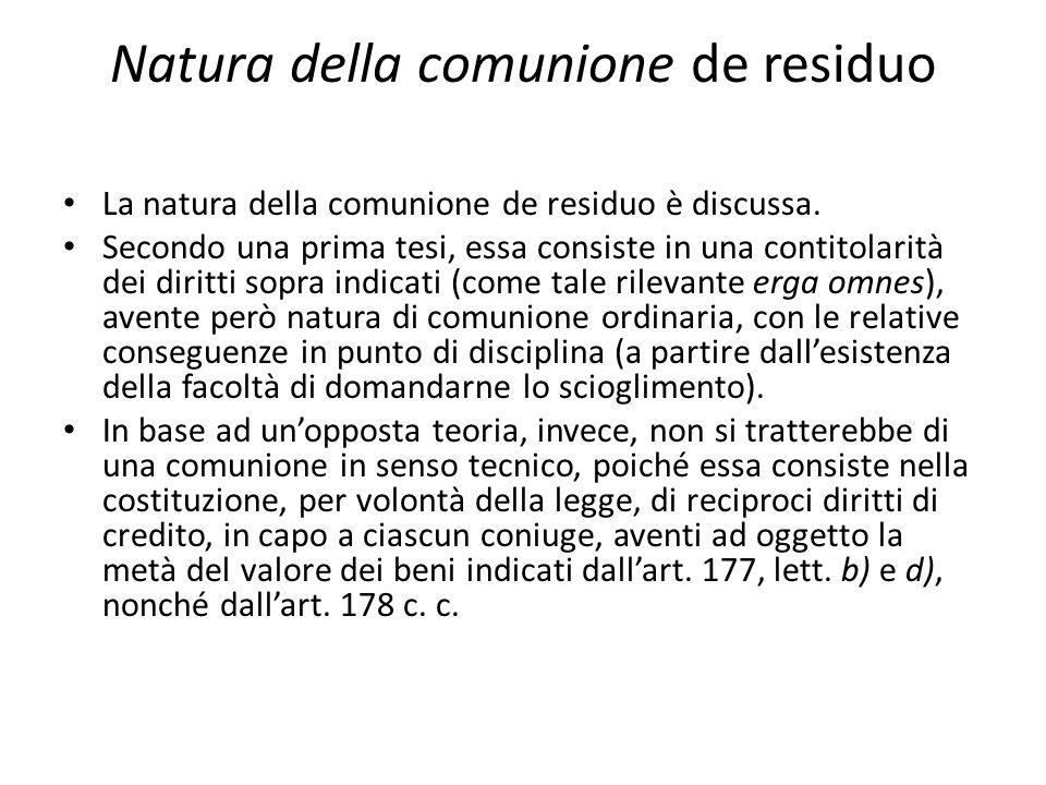 Natura della comunione de residuo