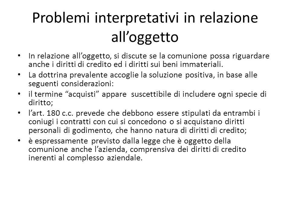 Problemi interpretativi in relazione all'oggetto
