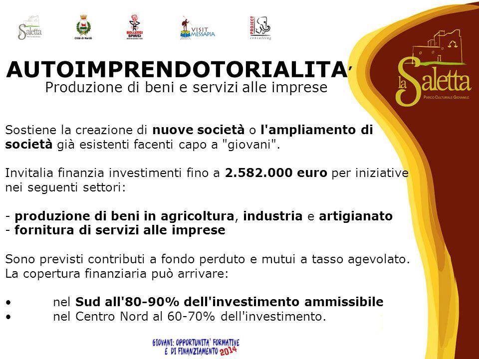 AUTOIMPRENDOTORIALITA' Produzione di beni e servizi alle imprese